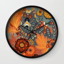 Foliage Cat Wall Clock