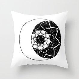 Crescent Moon Mandala Throw Pillow