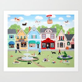 Dog Lovers Lane Art Print