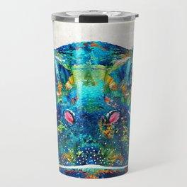 Hippopotamus Art - Happy Hippo - By Sharon Cummings Travel Mug