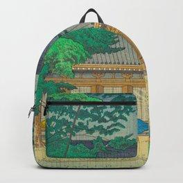 Asano Takeji Rain At Sanjusangendo Temple Vintage Japanese Woodblock Print East Asian Culture Backpack