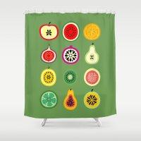 vector Shower Curtains featuring Banca de Frutas by Marcelo Romero