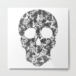 Black and White, Flower Skull Metal Print