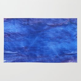 Cerulean blue abstract watercolor Rug