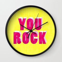 YOU ROCK - neon typography Wall Clock