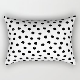 Polka Dots Black and White Rectangular Pillow
