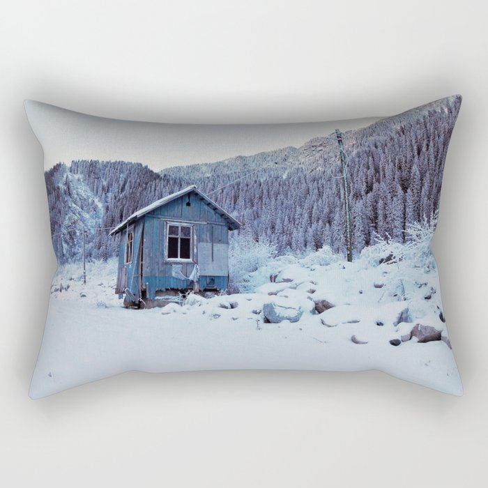Small house in mountains Rectangular Pillow