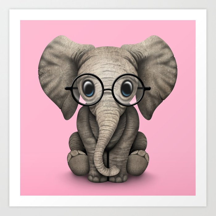 Cute Baby Elephant Calf with Reading Glasses on Pink Kunstdrucke