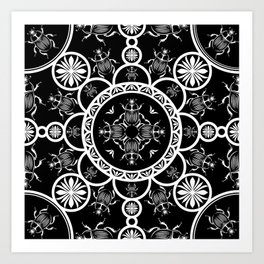Scarab tile line pattern with black Background Art Print