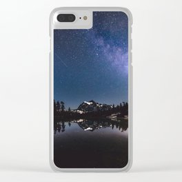 Summer Stars - Galaxy Mountain Reflection - Nature Photography Clear iPhone Case
