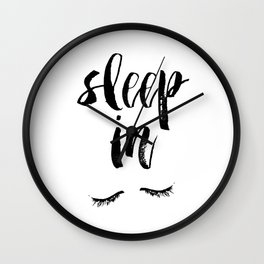 Sleep In Black and White Scandi Bedroom apartment Wall Decor for minimalist Typography Art Print Wall Clock