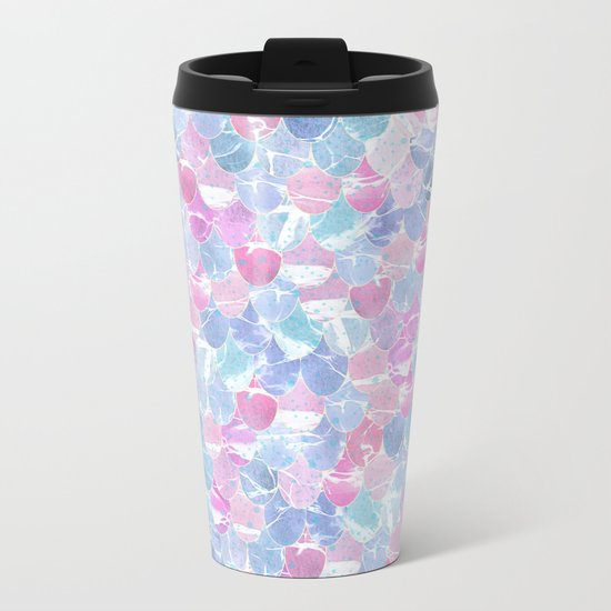 Abstract Mermaid Scales Pattern Metal Travel Mug