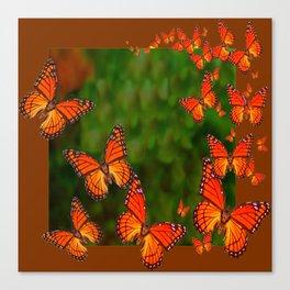 Green Brown Art Monarch Butterflies Migration Canvas Print