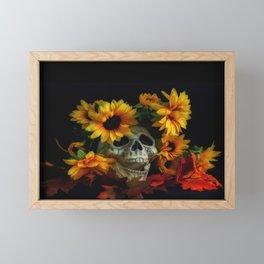 Skull and Flowers Framed Mini Art Print