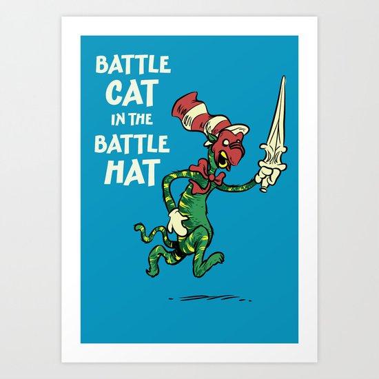 Battle Cat in the Battle Hat Art Print
