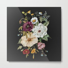 Colorful Wildflower Bouquet on Charcoal Black Metal Print
