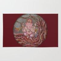 ganesha Area & Throw Rugs featuring Ganesha by Sincronizarte