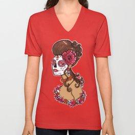 Glamorous Sugar Skull Girl Unisex V-Neck