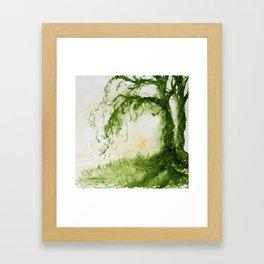 Green Sap Green WaterColour Tree by CheyAnne Sexton Framed Art Print