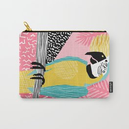 Holy Moly - memphis throwback retro neon bird macaw tropical island pop art bird watching 1980s Carry-All Pouch