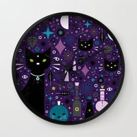 kittens Wall Clocks featuring Halloween Kittens  by Carly Watts