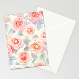 Faded Vintage Painted Roses Stationery Cards