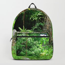 Watercolor Architecture Sugar Factory Ruins 01, Nature Reclaimed Backpack