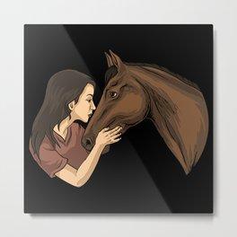 Girl Kissing A Horse Metal Print
