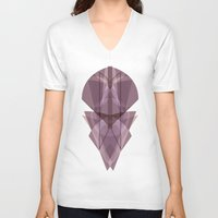 glass V-neck T-shirts featuring Glass by La Señora
