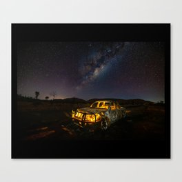 Burnt Truck Under Australian Milky Way Canvas Print