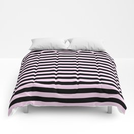 Pink Lace Pink and Black Horizontal Stripes Comforters