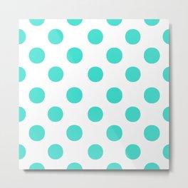 Polka Dots (Turquoise/White) Metal Print