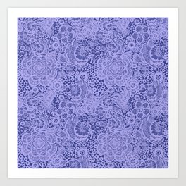 Birds and flowers in Blue Grey Lace Art Print