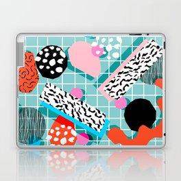 The 411 - wacka abstract memphis grid throwback retro cool neon 80s style minimal mixed media Laptop & iPad Skin