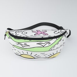 Doodle Art Ocean Waves Starfish and Sun - White Green Pink Fanny Pack