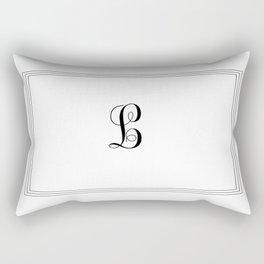 Monogram Letter L in Black and White Tripple Line Rectangular Pillow