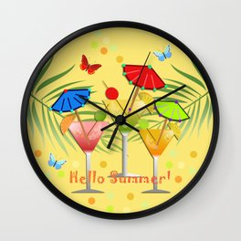 Hello Summer, vector illustration with text Wall Clock