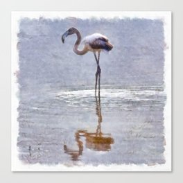 Flamingo Ripples and Reflections Watercolor Canvas Print