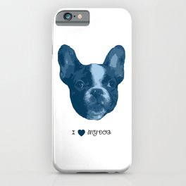 I love my dog - French Bulldog, blue iPhone Case