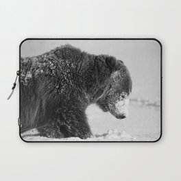 Alaskan Grizzly Bear in Snow, B & W - I Laptop Sleeve