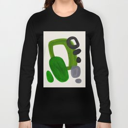 Minimalist Modern Mid Century Colorful Abstract Shapes Olive Green Retro Funky Shapes 60's Vintage Long Sleeve T-shirt