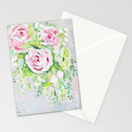 Pink rose floral bouquet Stationery Cards