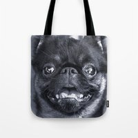 dentist Tote Bags featuring I Am Cute And I Know It by Roger Wedegis