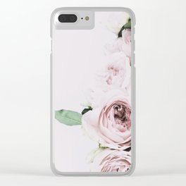 Flowers, Roses, Leaves, Plant, Green, Scandinavian, Minimal, Modern, Wall art Clear iPhone Case