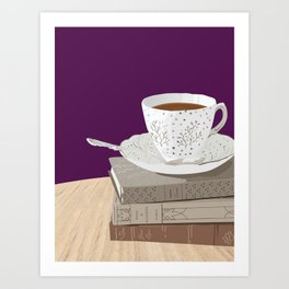 Teacup, Jane Austen, & Charlotte Brontë Books Art Print