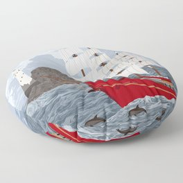 Red ship Floor Pillow