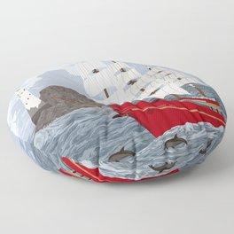 Red ship Floor Pillow
