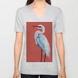 White Heron Unisex V-Neck