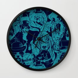 Dapper Dog_Teal Wall Clock