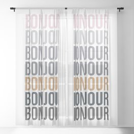 Bonjour in Bold Typography and Fall Colors Sheer Curtain